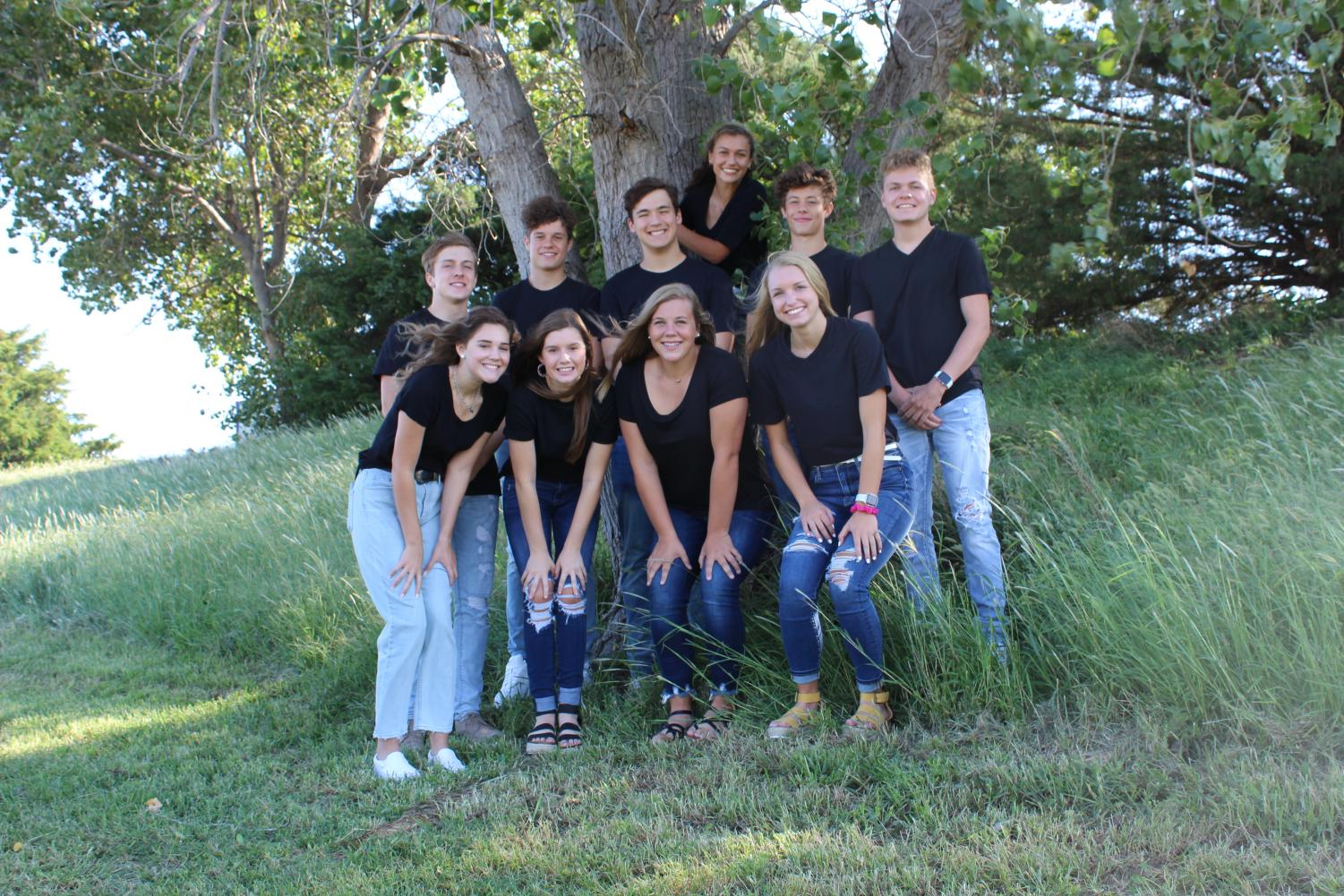 Homecoming candidates (back row) Seth Eklund, Aaron Kitchener, Braedon McVay, Madeline Blake, Luke Van Tassel, Colyn O'Connor, (front row), Hope Nurberg, Meredith Tillberg, Kate Weis, and Katie Moddelmog will learn tonight at 6:30 who will be king and queen.