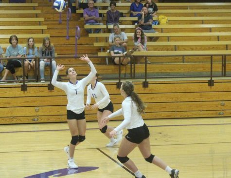Karsyn Schlesener sets the ball to Makenzie Boley during the game against Beloit.