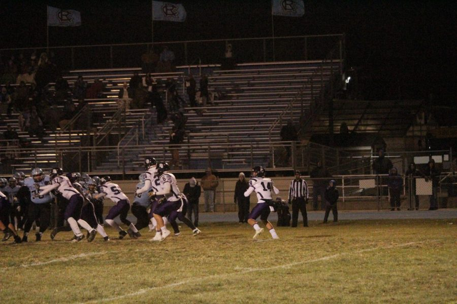 Jaxson Gebhardt prepares the launch the ball down the field at Fridays game.