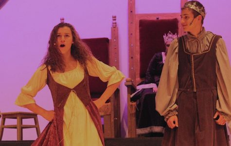 Madeline Blake and Ben Monday sing together at the musical on Thursday night.
