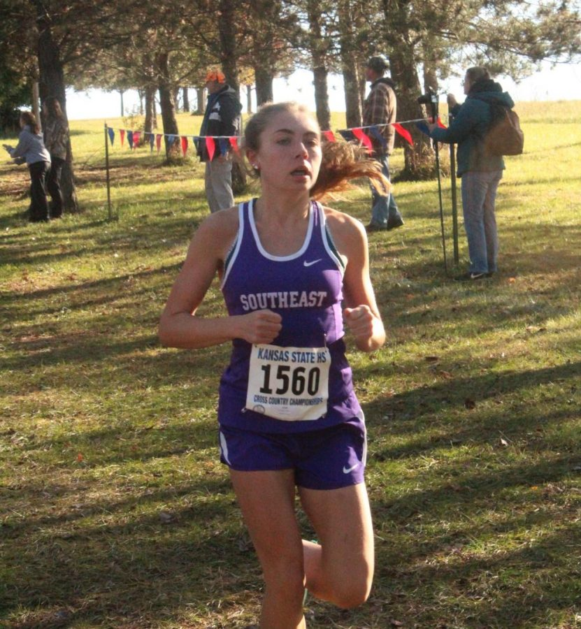 Ashley Prochazka, the teams second runner, follows helps lead her team to second place at the state meet. She finished with a time of 20:44.3.