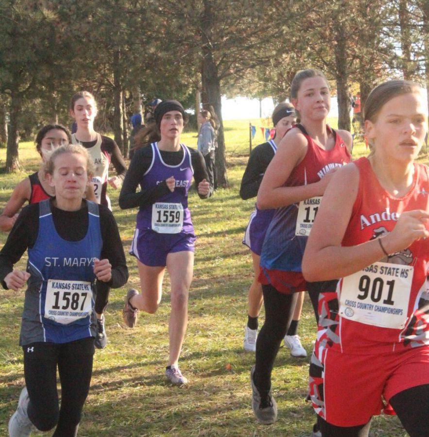 Senior, Jocelyn Pembleton, runs with a pack at the state meet.
