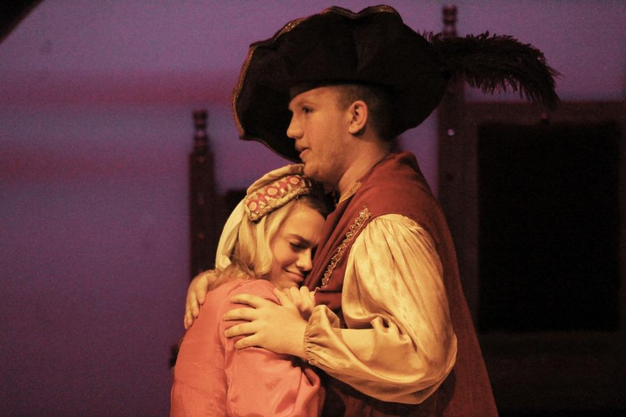 Dorothy Ann Sparacino, playing Lady Larken, and Cade Cooper, playing Sir Harry, hugging at the end of their scene.