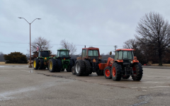 Four tractors that were driven to school. They were parked outside of the school on Monday morning.